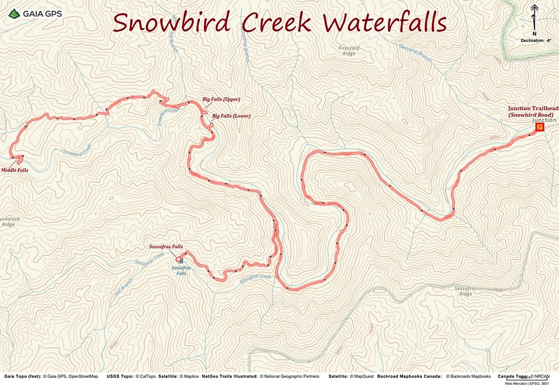 Snowbird Creek Waterfall Hike Route Map
