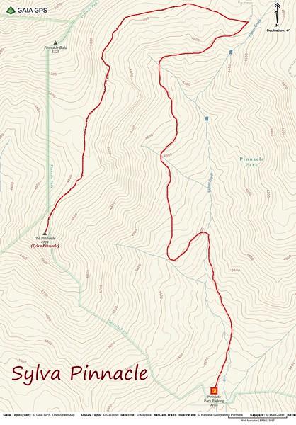 Sylva Pinnacle Hike Route Map