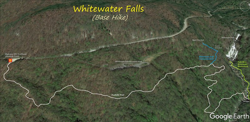 Upper Whitewater Falls Base Hike Route Map