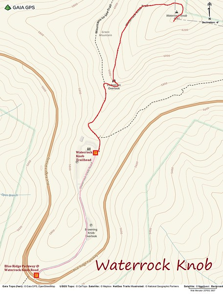 Waterrock Knob Hike Route Map