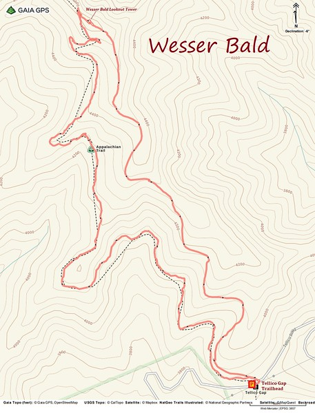 Wesser Bald Loop Hike Route Map