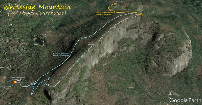 Whiteside Mountain/Devils Courthouse Hike Route Map