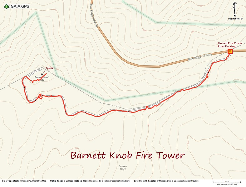 Barnett Knob Lookout Hike Route Map