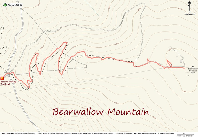 Bearwallow Mountain Hike Route Map