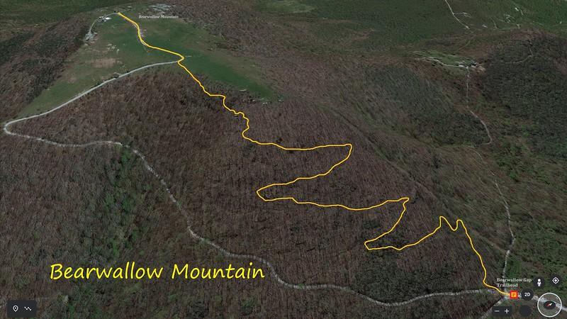 Bearwallow Mountain Hike Route Map