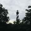 The 187' Cape Hatteras Lighthouse rises above the trees across from the Buxton Woods Trailhead...