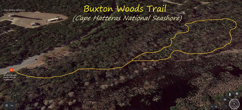 Buxton Woods Trail Hike Route Map