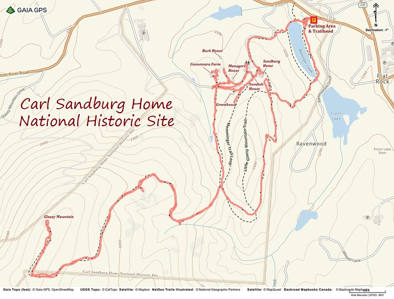 Carl Sandburg Hike Route Map