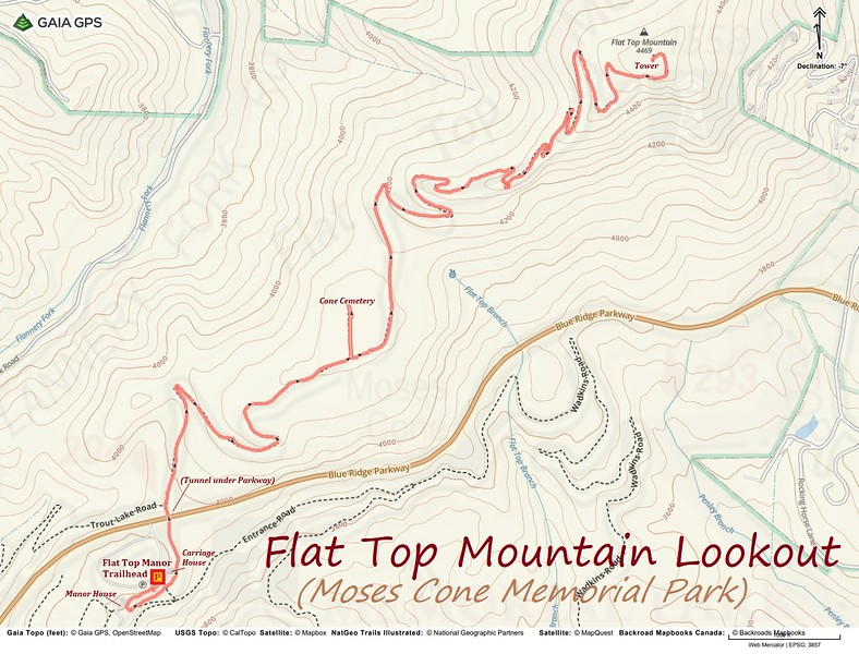 Flat Top Mountain Lookout Hike Route Map