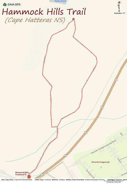 Hammock Hills Hike Route Map