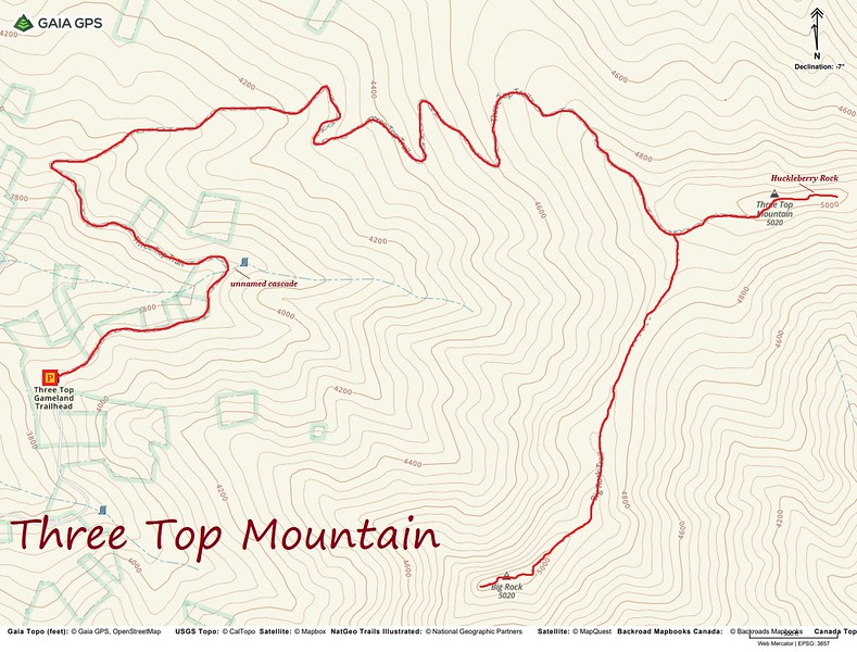 Three Top Mountain Hike Route Map