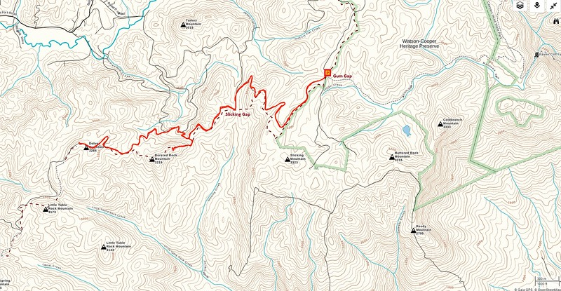 Bursted Rock & Dolves Mountain Hike Route Map