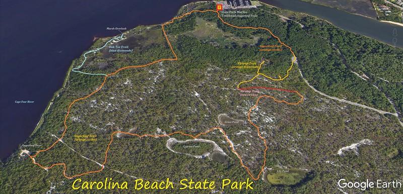 Carolina Beach State Park Hike Route Map