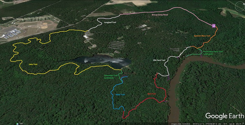 Cliffs of the Neuse Loop Hike Route Map