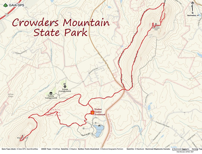 Crowders Mountain State Park Hike Route Map