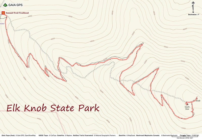 Elk Knob Summit Trail Route Map