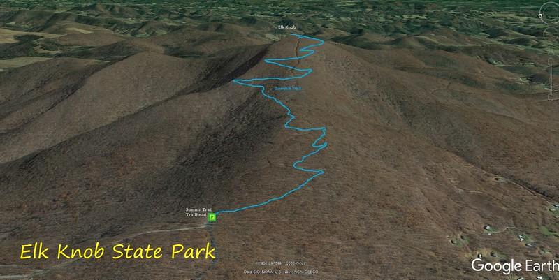Elk Knob Summit Trail Route Map