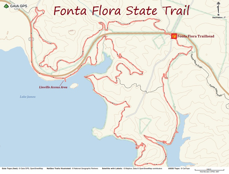 Fonta Flora Trail Loop Hike Route Map