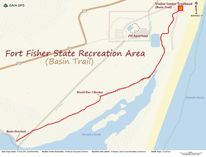 Fort Fisher State Recreation Area Hike Route Map