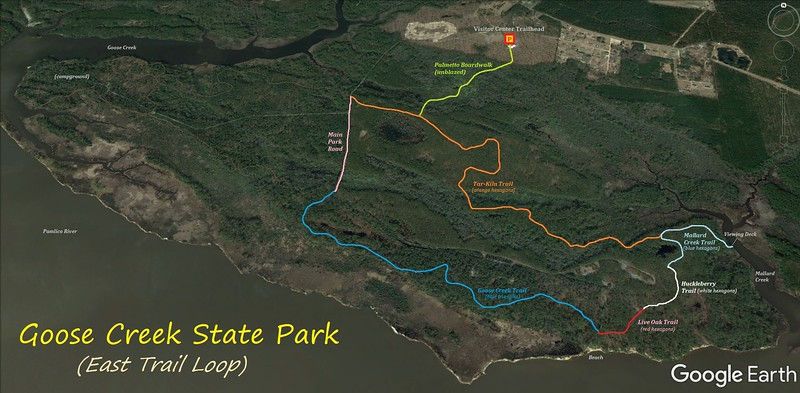Goose Creek State Park Hike Route Map
