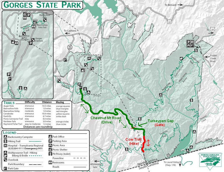 Chestnut Mountain Road-Cow Trail Route Map
