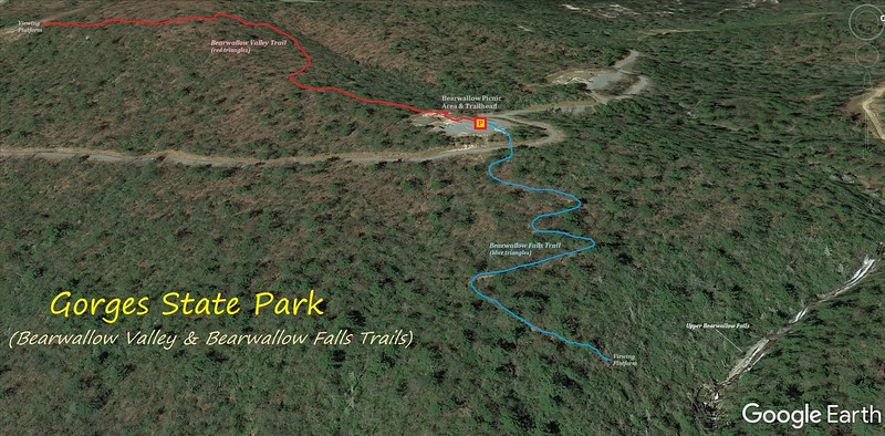 Bearwallow Valley & Upper Bearwallow Falls Hike Route Map