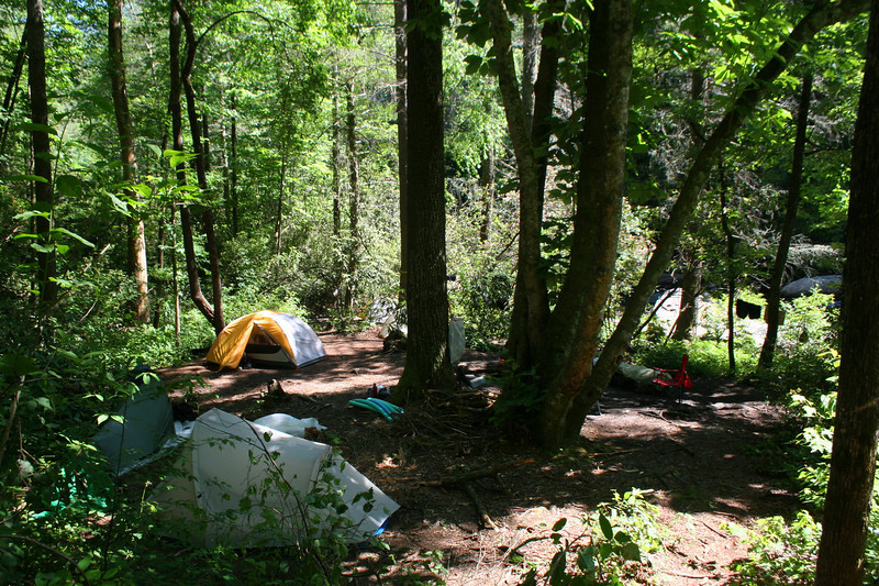 Just above Stairway Falls is a nice group campsite.  To reach the falls just keep following the trail as it exits the far side of the camp...