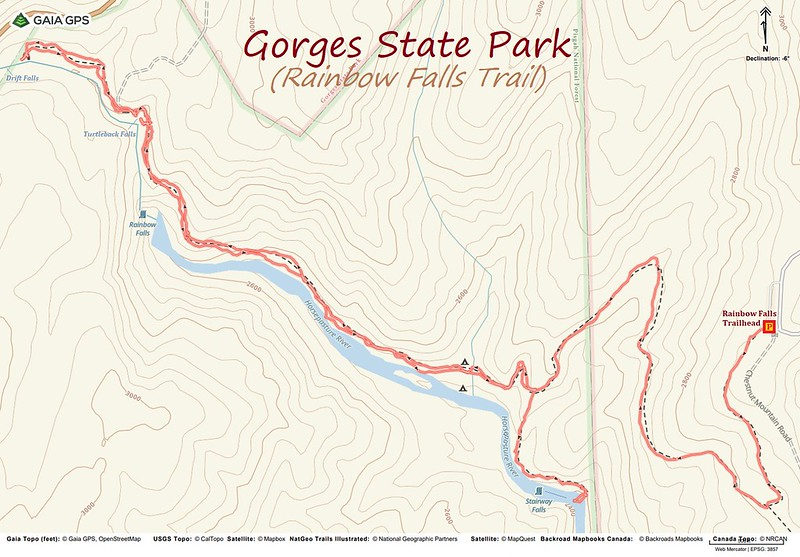 Rainbow Falls Trail Hike Route Map