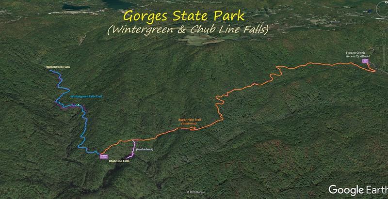 Wintergreen & Chub Line Falls Hike Route