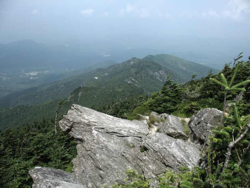 Looking down the north ridge of Grandfather Mountain to the community of Foscoe, NC.