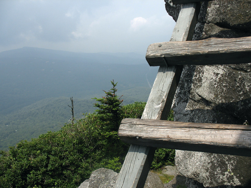 Looking west to Sugar Mountian from one of the high ladders on McRae Peak.