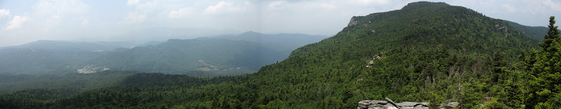 A panoramic shot from just above Calloway Gap looking north. Calloway Peak is on the right with the community of Foscoe far below.