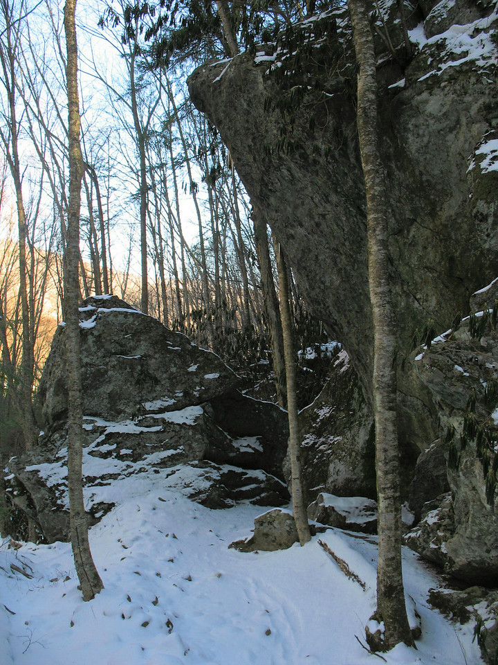 Just after crossing Shanty Spring Branch the trail passed under this interesting rock ledge.