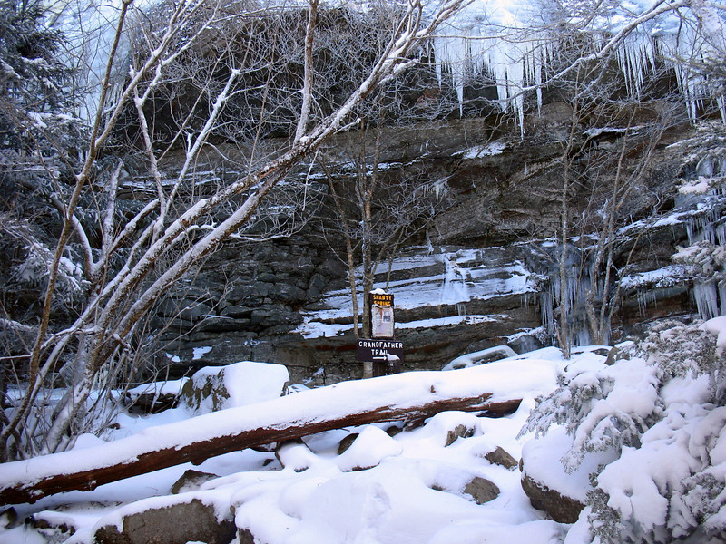 The trail leading up to and above the spring was treacherous. The stream and trail are one at many points making for a dangerous combination of ice and rock beneath the snow.