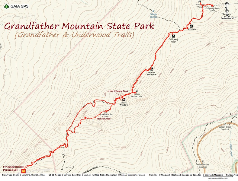 Grandfather Trail Hike Route Map