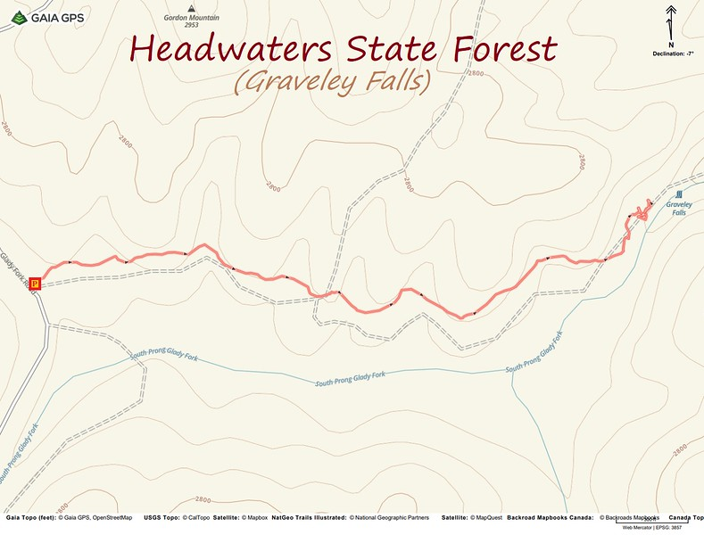 Graveley Falls Hike Route Map