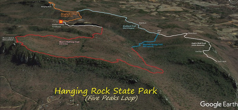 Hanging Rock State Park Hike Route Map