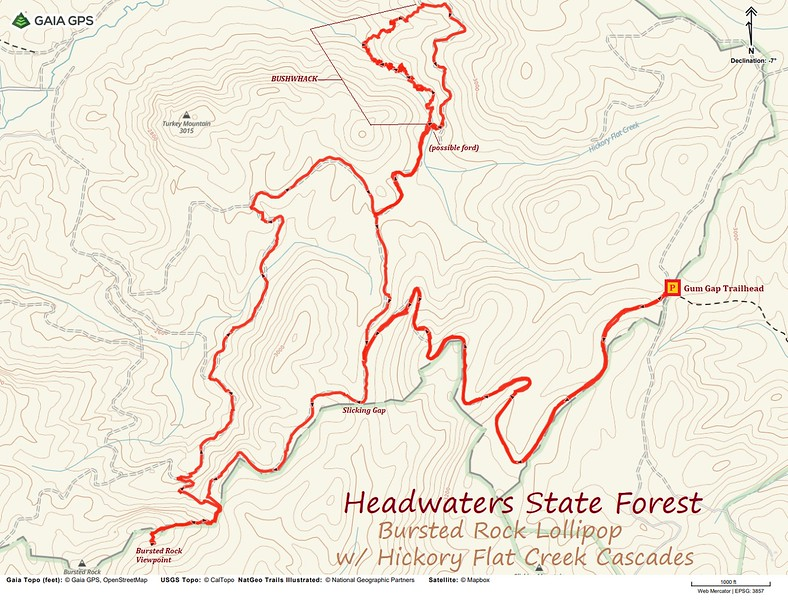 Bursted Rock & Hickory Flat Creek Cascades Hike Route Map