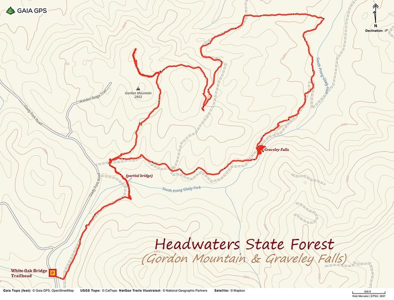 Gordon Mountain & Graveley Falls Hike Route Map