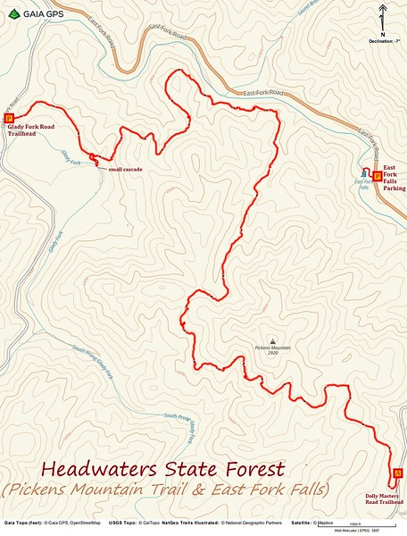 Pickens Mountain Trail & East Fork Falls Hike Route Map