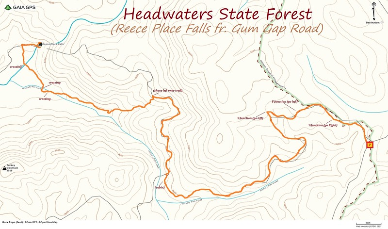 Reece Place Falls Hike Route Map
