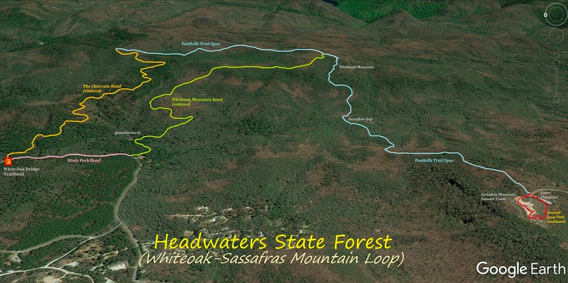 Whiteoak/Sassafras Mountain Loop Hike Route Map