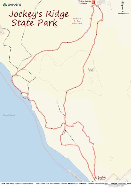 Jockey's Ridge State Park Hike Route Map