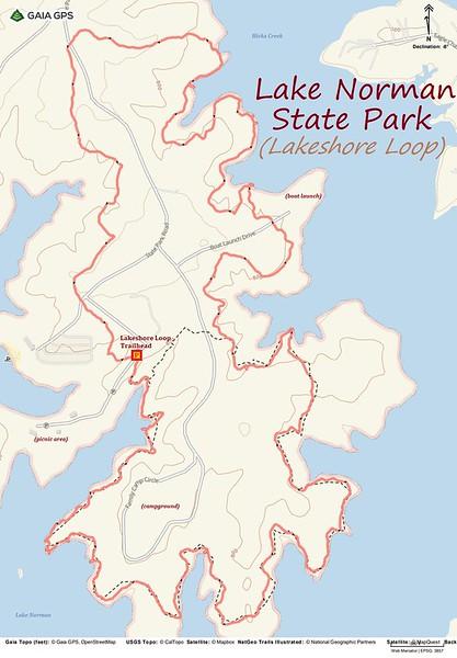 Lake Norman-Lakeshore Loop Hike Route Map
