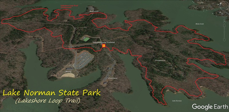 Lake Norman-Lakeshore Loop Hike Route Map
