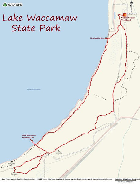 Lake Waccamaw State Park Hike Route Map