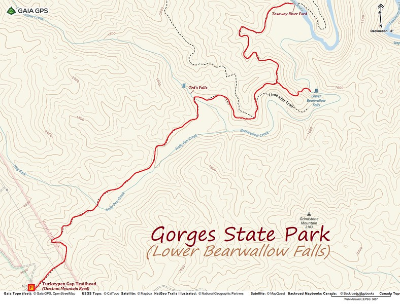 Lower Bearwallow Falls & Auger Hole Hike Route Map