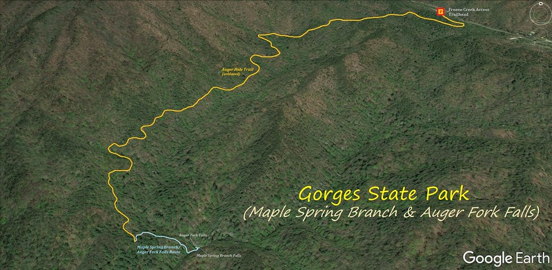 Auger Fork & Maple Spring Branch Falls Hike Route Map