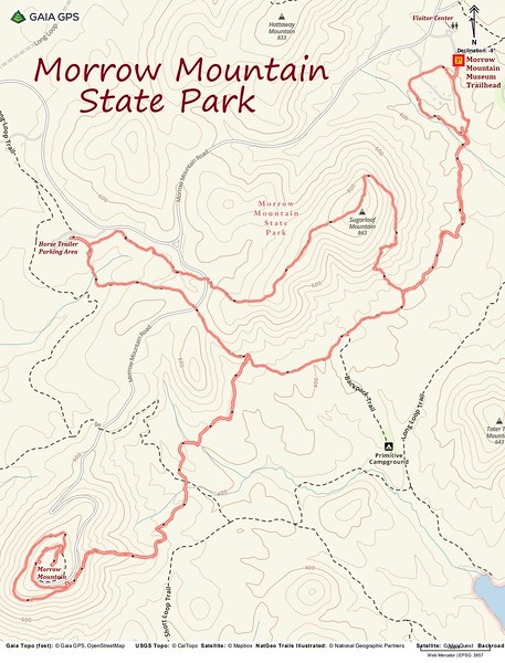 Morrow Mountain State Park Hike Route Map