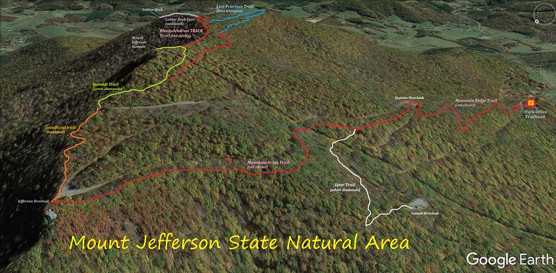 Mount Jefferson State Natural Area Hike Route Map